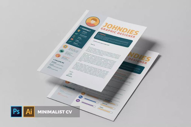 Minimalist CV Resume from Envato Elements