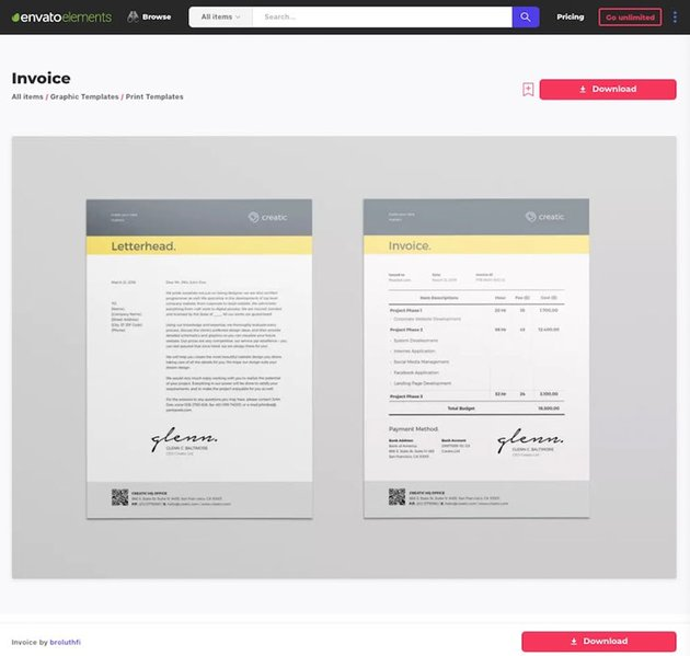 Invoice and Cover Letter Template for Word