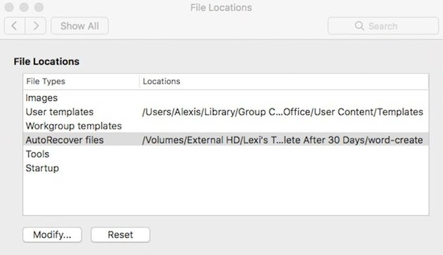 AutoRecover File Locations in Word