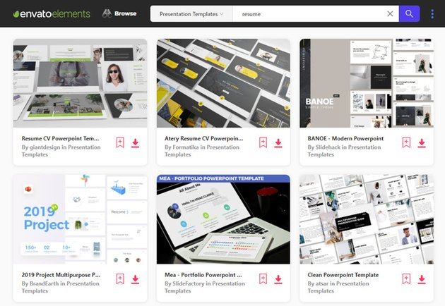 Find Resume PowerPoint Templates on Envato Elements