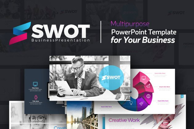 SWOT Business Presenation Template from Envato Elements