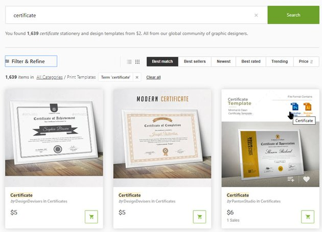 GraphicRiver Google Docs certificate templates