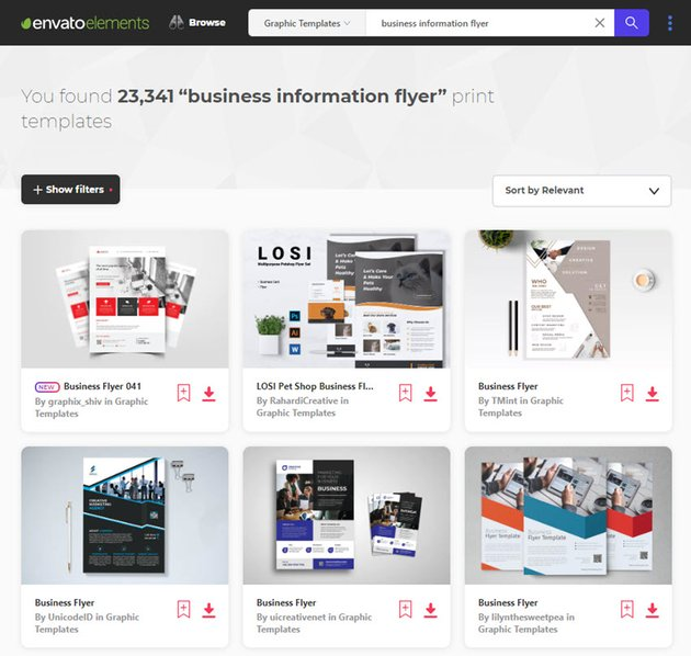 business informational flyer templates on Envato Elements