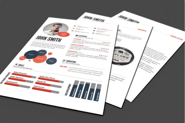 Infographic Resume Template for PSD