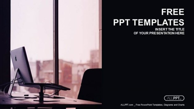 Laptop Computer in the Office PowerPoint Templates