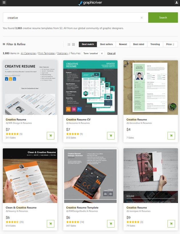 resume templates on GraphicRiver