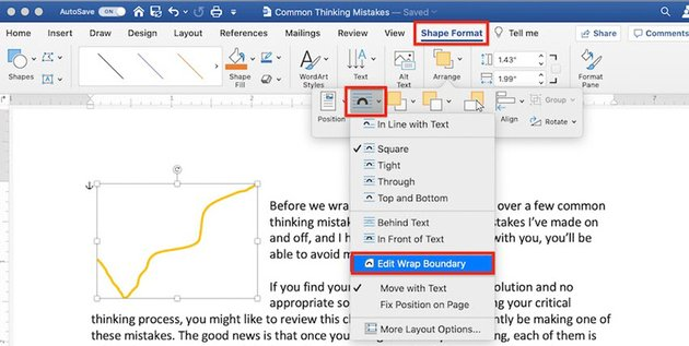 How to draw in Word - Edit wrap boundary