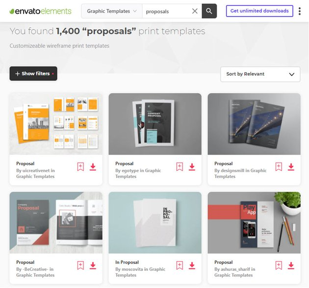 Sales Proposals on Envato Elements