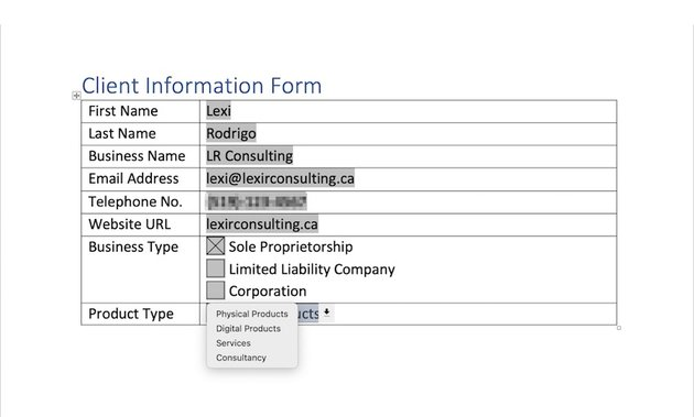 how to create a fillable form in word - test form