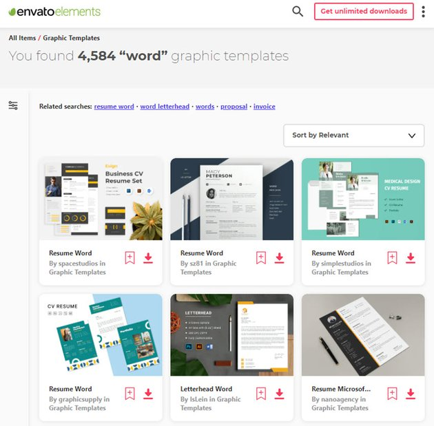 Envato Elements Graphic Templates for Word