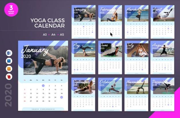 Yoga Word Calendar Template
