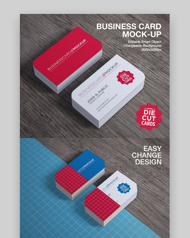 Die Cut Business Card Mock-Up GraphicRiver