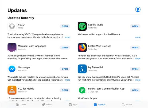 App Stores Updates tab