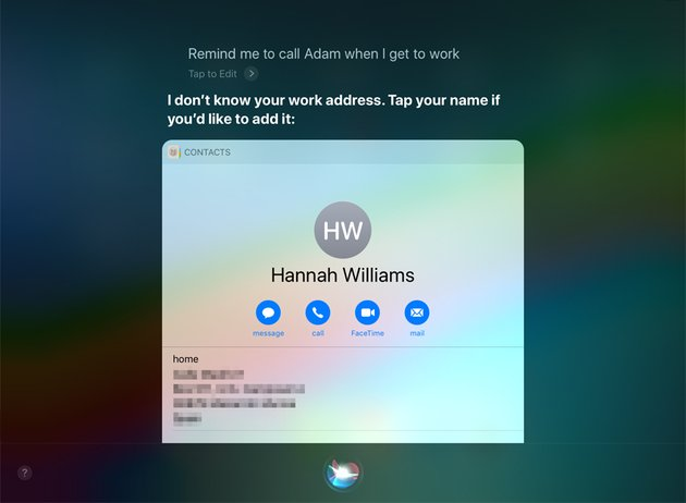 Siris location-based reminder