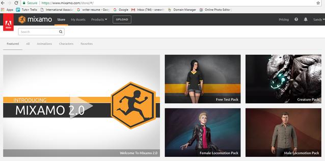 Mixamo Homepage