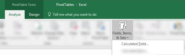 Insert Calculated Field in Excel PivotTable