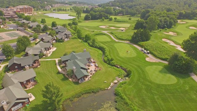a golf course photographed from low altitude