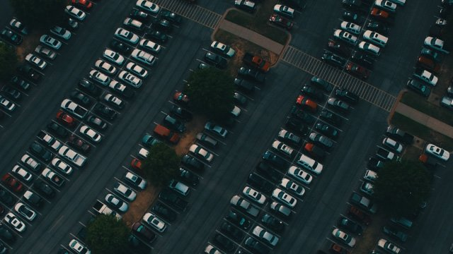 Parking lot at dusk from a drones point of view