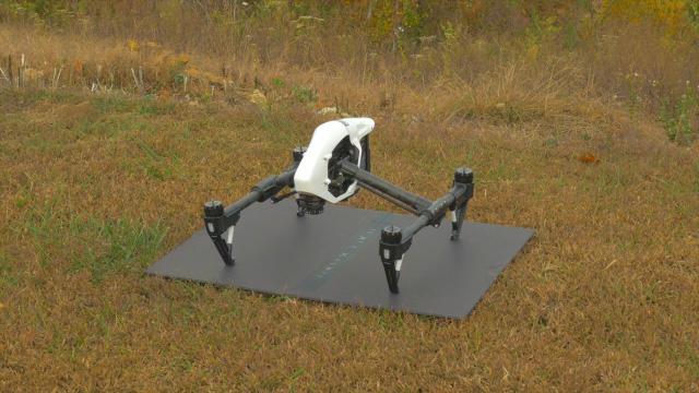 Drone sitting on foam board ready for flight