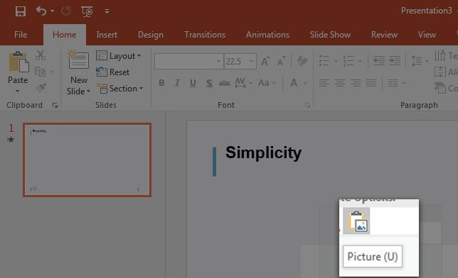 Right click and paste picture into PowerPoint slide