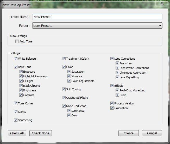 New preset dialog box