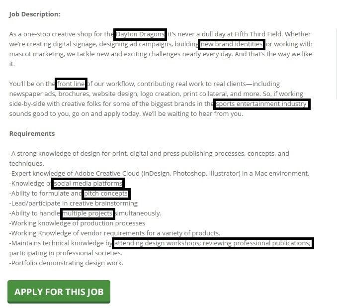 Graphic designer job ad example