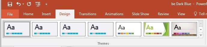 PowerPoint themes ribbon