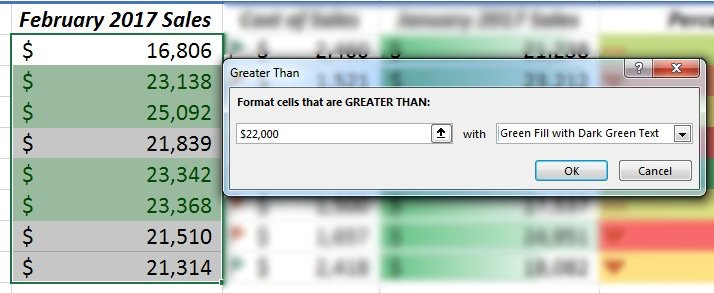 Format Cells greater than