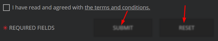 Initially the form buttons are disabled