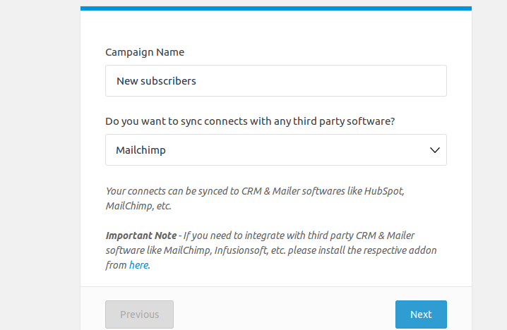 select MailChimp as the email marketing tool
