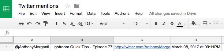 Tweet to Google spreadsheet