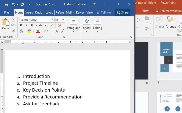Microsoft Word Outline