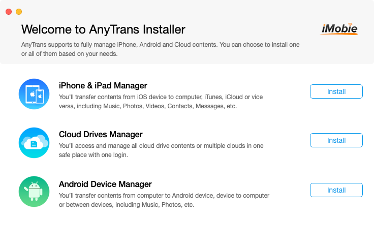 Installing AnyTrans - select the iPhone and iPad Manager