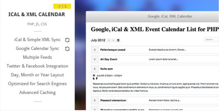 Google iCal  XML Event List Calendar for PHP