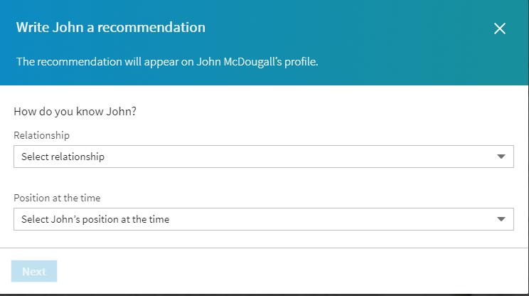 Writing a LinkedIn recommendation