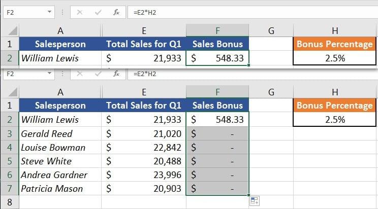 Sales Bonus Autofill in Excel