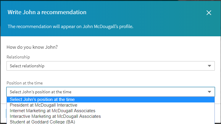 Write a recommendation on LinkedIn