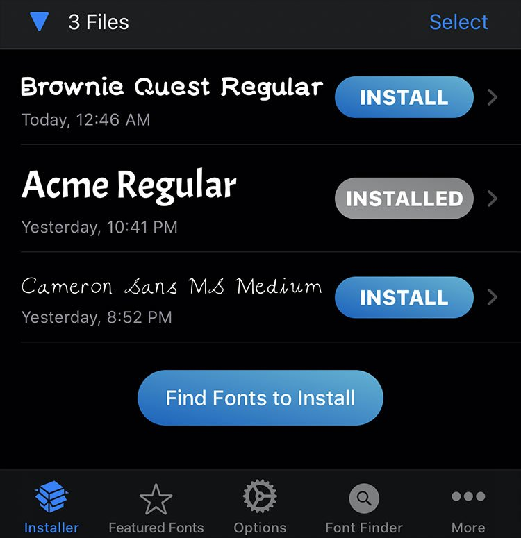 Press Install Fonts to iPhone