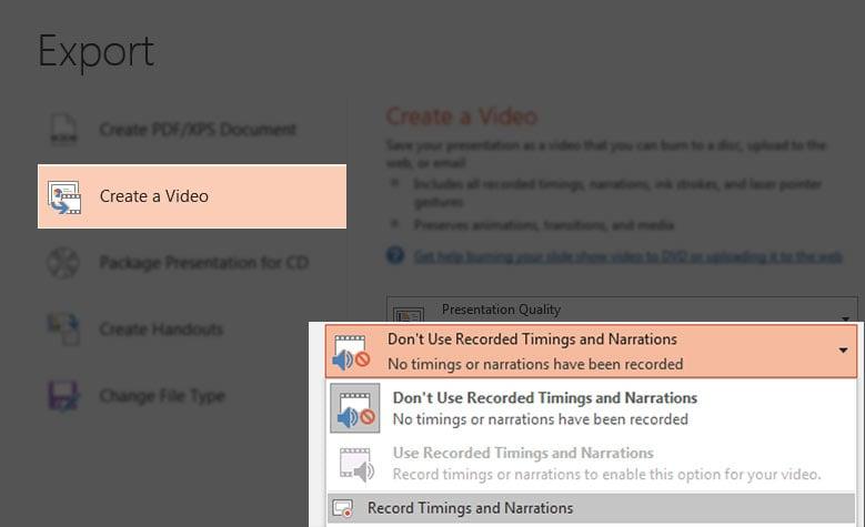 Set video timings in PowerPoint