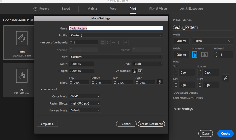 create new document artboard setup width height units pixels color mode cmyk