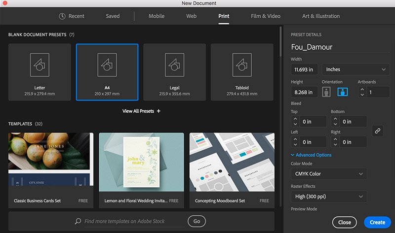 adobe illustrator new document set up artboard name size width height orientation units color mode
