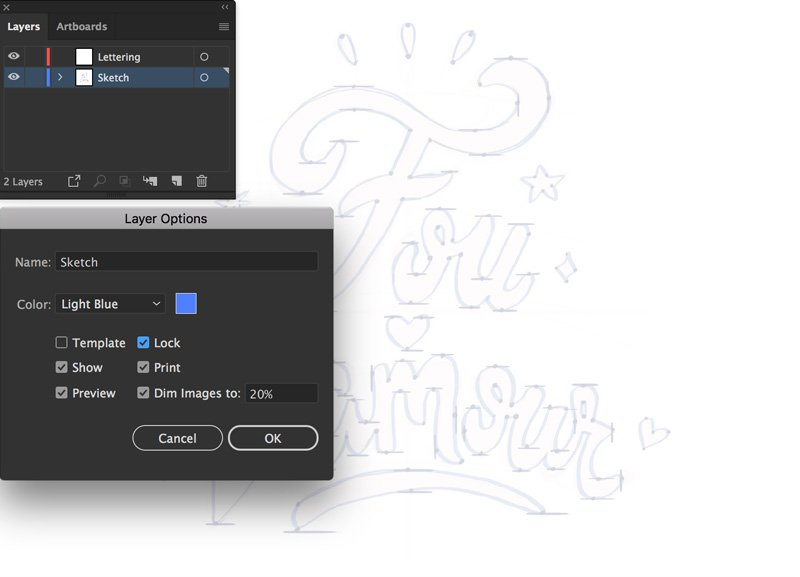 layer panel create new layer place command shift P Lock and Dim file save