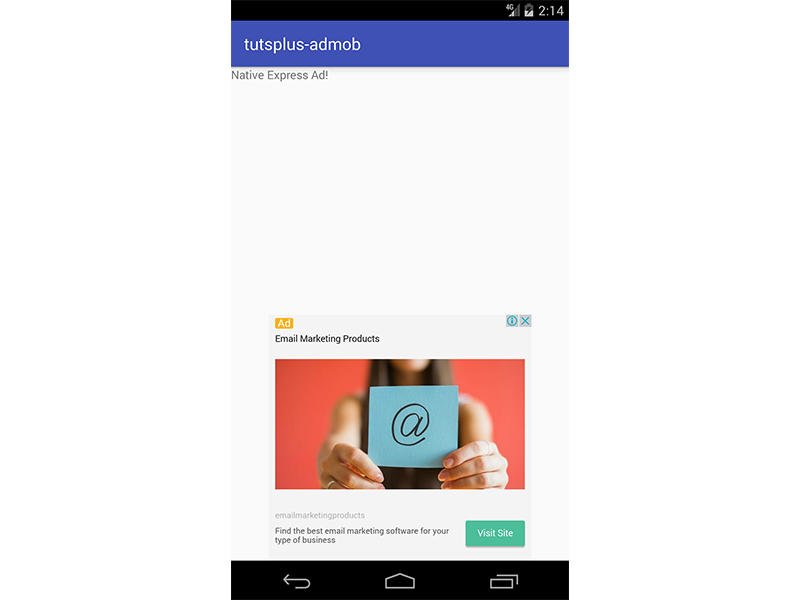App showing NativeExpressAdView