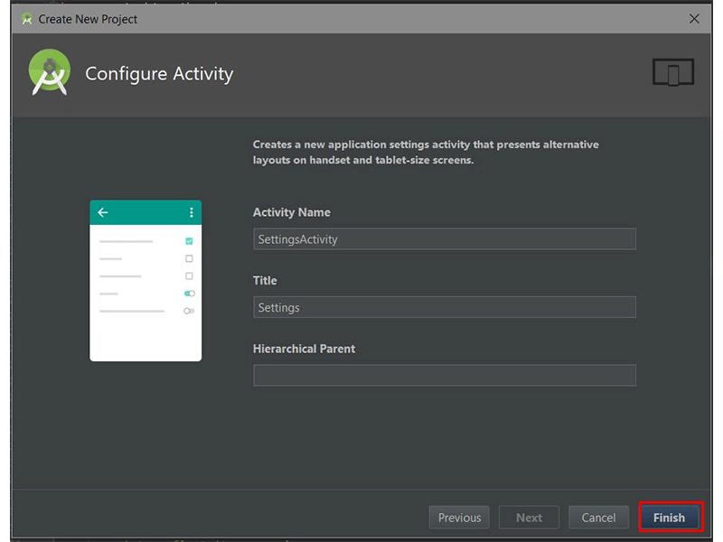 Android Studios Configure Activity dialog