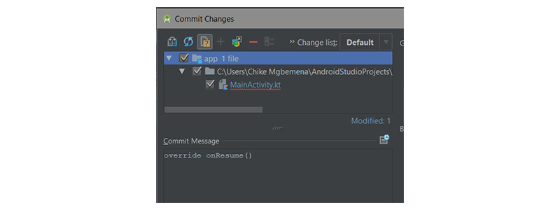 Commit changes dialog with file name colour blue