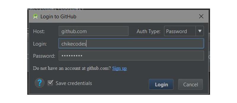 GitHub login dialog