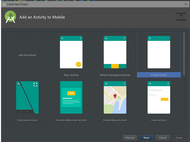 Android Studios Add an Activity to Mobile dialog