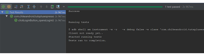 Android Studio test result toolbar