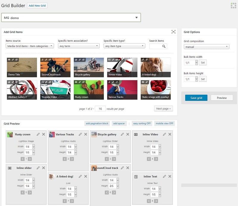 Media Grid WordPress Gallery plugin