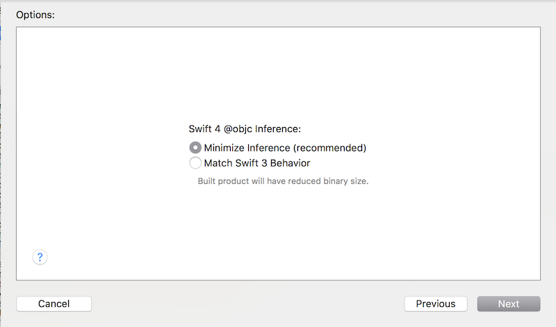 The Xcode Migration Tool modal prompt screen
